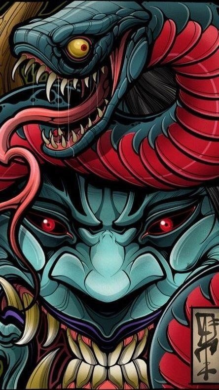 Mask of the devil with a snake.