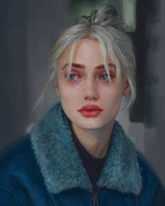 White-haired girl with red lips.