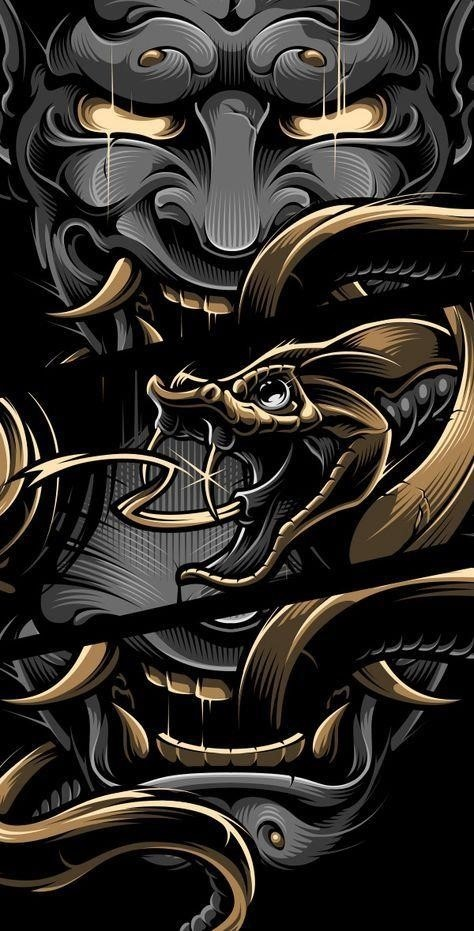 Golden dragon with a mask.