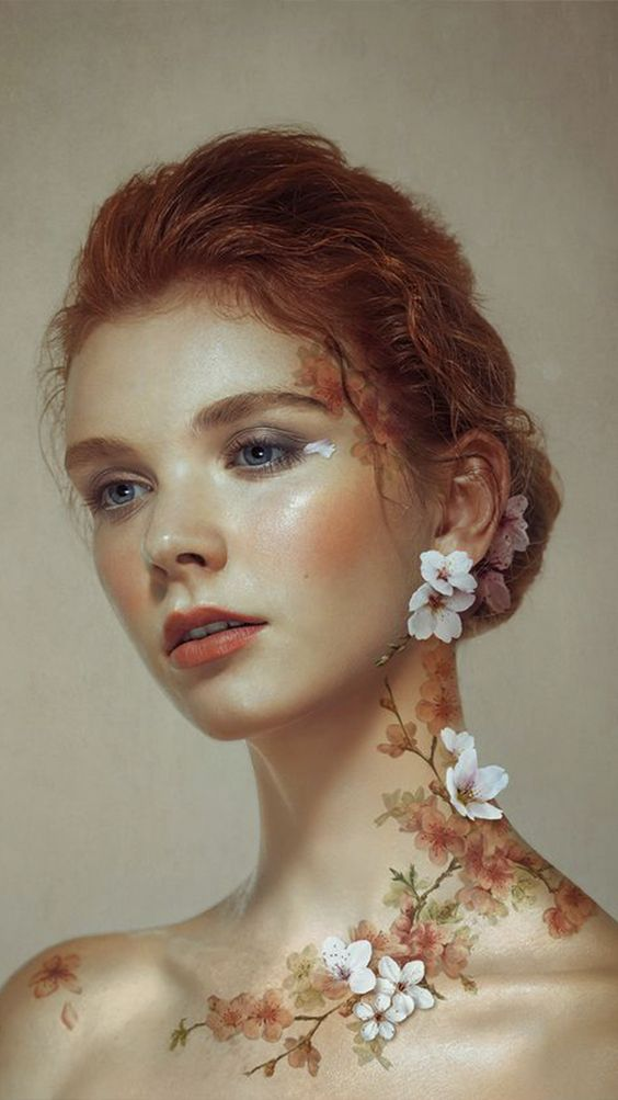 flowers on the neck