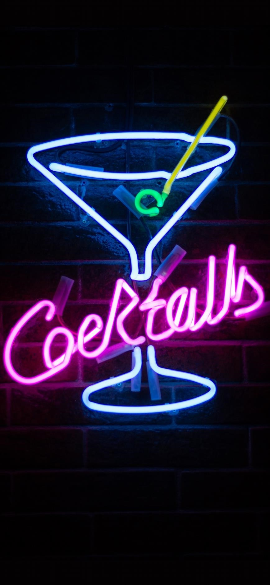 iPhone-wallpapers-neon-sign-cocktails ...